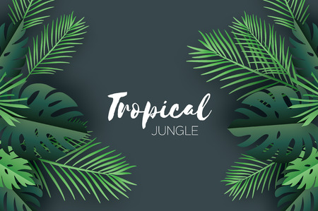 Trendy Summer Tropical palm leaves and plants in paper cut style. Origami Exotic Hawaiian summertime. Space for text. Beautiful dark green jungle floral background. Monstera, palm. Vector  イラスト・ベクター素材