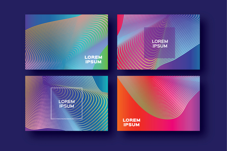 Set of 4 Trendy Colorful Gradient Future Geometric Shapes Covers template. Minimal gorizontal geometry halftone design for banners, flyers, invitation, posters, brochure, voucher discount. Vector Illustration