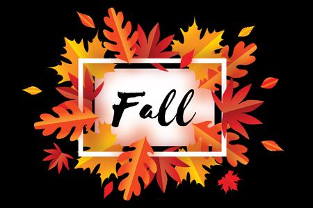 Mooie herfst herfst papier gesneden bladeren. Hallo herfst. September flyer sjabloon. Rechthoekkader. Ruimte voor tekst. Origami gebladerte. Esdoorn, eik. Herfstposter. Zwarte achtergrond. Vector