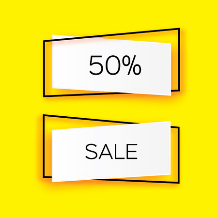 temlate: Modern paper cut geometric sale banner, special offer, 50 percents discount. Origami Trendy Label tag temlate. Shop now. Space for text. Yellow background. Vector Illustration