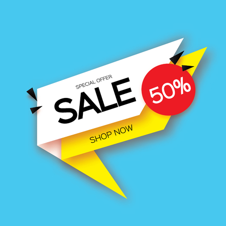 temlate: Modern paper cut geometric sale banner, special offer, 50 percents discount. Origami Trendy Label tag temlate. Shop now. Space for text. Blue background. Vecto Illustration