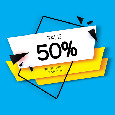 Modern paper cut geometric sale banner, special offer, 50 percents discount. Origami Trendy Label tag template. Shop now. Space for text. Blue background. Vector illustration