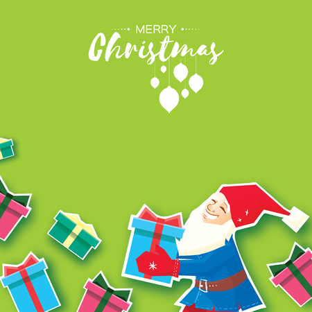 Christmas cartoon of Santa Claus holding a Gift box with bow. Paper Cut Merry Christmas Greeting card. Origami Winter season. Happy New Year. Space for text. Green background. Vector art