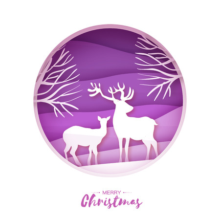 Deer couple in snowy forest. Merry Christmas Greeting card. Origami snowy winter season. Happy hplidays. New Year. Paper art style. Birch tree trunk. Purple background. Vector