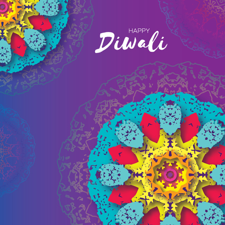 Happy Diwali. Indian celebration in paper cut style. Origami Beautiful Hindu festival of lights. Colorful Mandala. Vector Illustration