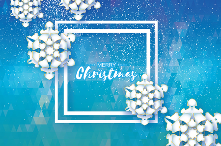 Origami Snowfall. Merry Christmas Greetings card. White Paper cut snow flake. Happy New Year. Winter snowflakes. Square frame. Space for text. Holidays. White polygonal background. Vector Illustration