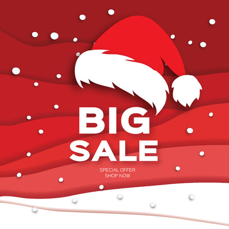 Merry Christmas Big Sale for Promotion. Paper cut Snowflakes and Santa Hat. Origami carving Decorations. Snowfall Text. Landscape. Red background. Vector Illustration