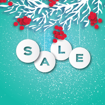 Christmas Sale for Promotion. Discount. Paper cut Baubles, Rowan branch and red berry. Origami carving Decorations. Happy New Year. Blue light background. Vector Illustration