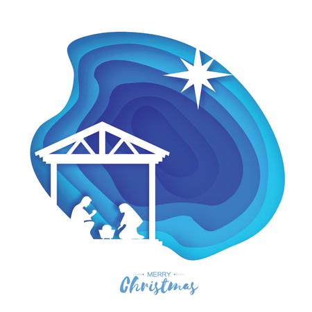 Nascita di Cristo Gesù bambino nella mangiatoia. Sacra Famiglia. Magi. S Stella di Betlemme - cometa orientale. Grafica natalizia in stile taglio carta. Vettore