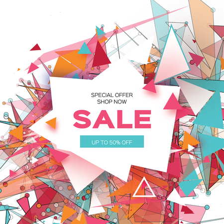 Colorful Sale Banner. Fiery geometry explosion. Big Sale. Discount. Trendy Geometric elemets, frame in paper cut style. For brochure, flyer. White background. Vector