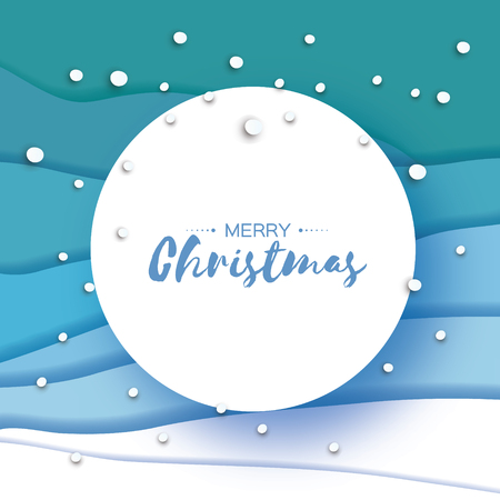 Origami Merry Christmas Greetings card. Paper cut snow flake. Happy New Year. Winter snowflakes background. Circle frame. Space for text. Blue mountains. Landscape. Vector