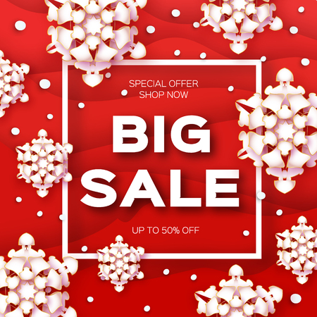 Merry Christmas Big Sale for Promotion. Paper cut Snowflakes banner. Origami Decorations. Snowy winter season. Happy New Year. Square Frame. Text. Snowfall. Red background. Vector Illustration