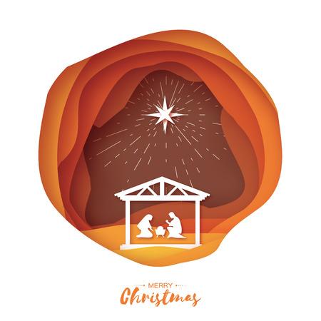 Birth of Christ. Baby Jesus in the manger. Illustration