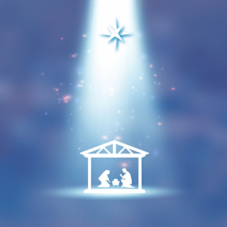 Birth of Christ. Baby Jesus in the manger. Holy Family. Magi. S Star of Bethlehem - east comet. Nativity Christmas graphics design in paper cut style. Star light. Vector Çizim