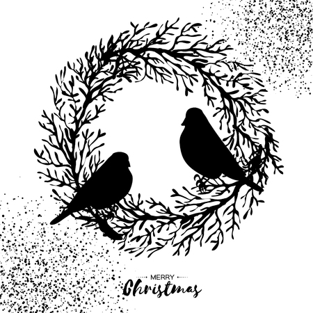 Black Christmas Wreath with Bullfinch. tree branch. Birds silhouette, Happy New Year. Circle frame. Space for text. white background. Vector