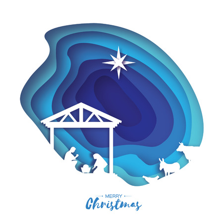 Birth of Christ. Baby Jesus in the manger. Holy Family. Magi. S Star of Bethlehem - east comet. Nativity Christmas graphics design in paper cut style. Vector