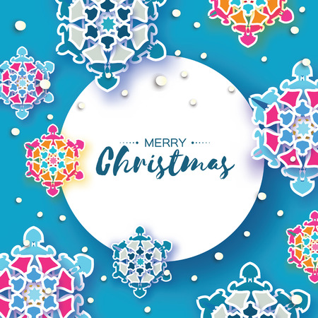 Colorful Origami Christmas Greetings card. Snowfall. Paper cut snow flake. Happy New Year invitation. Winter snowflakes background. Circle frame. Space for text. Blue. Holidays. Vector