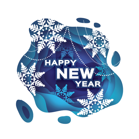 Blue Happy New Year Greetings card. Snowfall. Paper cut snow flake. Merry Christmas invitation. Winter snowflakes Garland. Text. Layered tunnel wave background. Shadows box. Vector illustration.