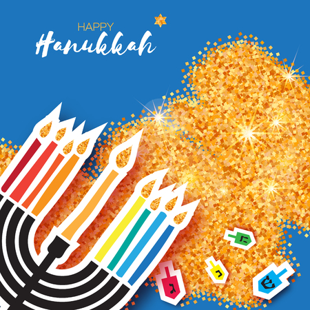 Hanukkah jewish vector illustration. jewish menorah simple vector icon. Hanuka candles symbol.