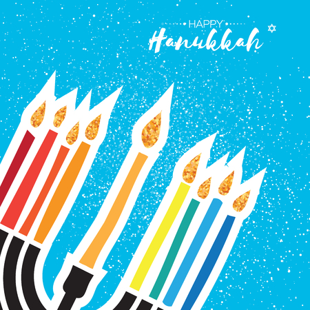 Happy Hanukkah Greeting card. Hanuka juish vector illustration. jewish menorah. Hanuka candles symbol. Square frame for text. Vector