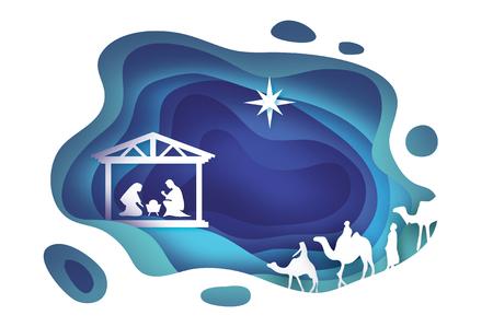 キリストの誕生。飼い葉桶の赤ん坊イエス。神聖な家族。少女。3 つの賢明な王と東彗星 - ベツレヘムの星。キリスト降誕クリスマス グラフィック   イラスト・ベクター素材