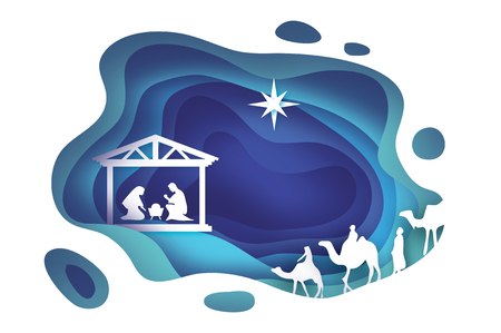 Birth of Christ. Baby Jesus in the manger. Holy Family. Magi. Three wise kings and star of Bethlehem - east comet. Nativity Christmas graphics design in paper cut style. Vector Zdjęcie Seryjne - 89588270