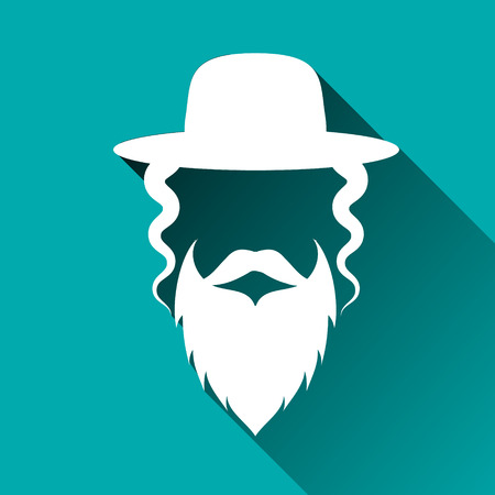 Jewish men in the traditional clothing. Orthodox Jew hat,mustache,beard. Man concept. Israel people. Flat style. Shadow. Vector