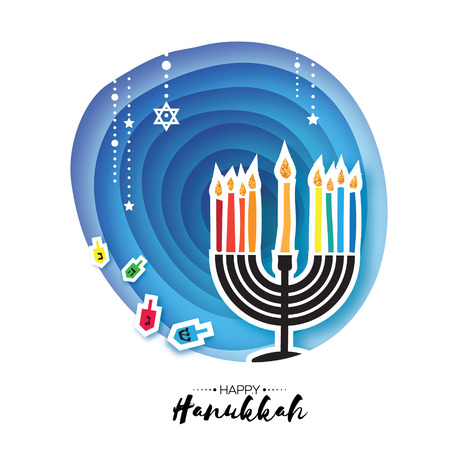 Origami Happy Hanukkah. Greeting card for the Jewish holiday. Menorah traditional candelabra and burning candles Hanukkah dreidel with letters of the Hebrew alphabet. Star of David. Paper cut style. Vector Illustration