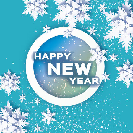 Origami Snowfall. Happy New Year Greetings card.. Merry Christmas. White Paper cut snow flake. Winter snowflakes. Circle bubble frame. Space for text. Holidays. Blue background. Vector