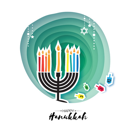 Origami Happy Hanukkah. Greeting card for the Jewish holiday. Menorah traditional candelabra and burning candles Hanukkah dreidel with letters of the Hebrew alphabet. Star of David. Paper cut style. Illustration