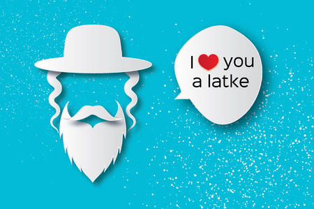 Origami Jewish men in the traditional clothing. Ortodox Jew hat,mustache, sidelocks and beard. Man concept. Paper cut style. Speech bubble for text. I love you a latke. Vector