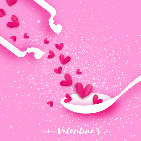 Love elixir. Chemistry of love. Pink Hearts in paper cut style. Test tube with love fluid. Spoon. Origami Romantic card for Happy Valentines Day. Chemical reaction. 14 February. Pink background.