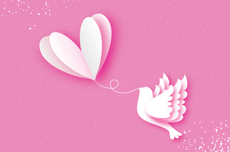 Happy Valentines day Greeting card. Flying Love Balloon. Bird in paper cut style. Origami Romantic Dove. white heart. White pigeon. 14 February. Illustration