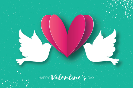 Origami Happy Valentines day greeting card. Flying Love Birds in paper cut style. A couple of doves in loving. Romantic Pink heart. Two white pigeons kissing. Vector Illustration
