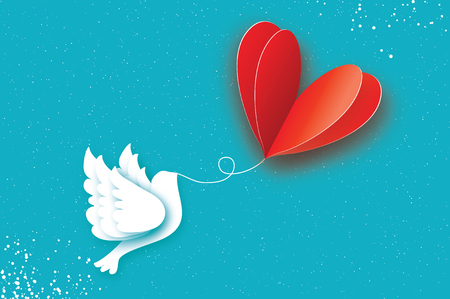 Happy Valentines day Greeting card. Flying Love Balloon. Bird in paper cut style. Origami Romantic Dove. Red heart. White pigeon. 14 February. Bly sky background.