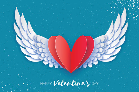 Happy Valentines Day Greetings card. Origami angel wings and romantic red heart. Love. Winged heart in paper cut style. Blue sky background.