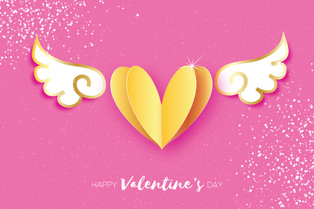 Cute Happy Valentines Day Greetings card. White Origami angel wings and gold metal heart. Love. Winged heart in paper cut style. Pink background. 14 February.