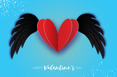 Happy Valentines Day Greetings card. Origami black angel wings and romantic red heart. Love. Winged heart in paper cut style. Blue sky background. 14 February.