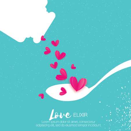 Cute Love elixir. Chemistry of love. Pink Hearts. Test tube with love fluid. Spoon. Romantic card for Happy Valentines Day. Chemical reaction. 14 February. Blue sky background. Illustration