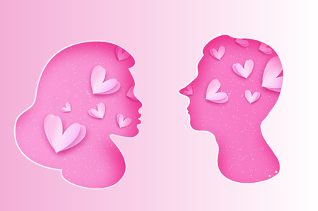 Pink Male and female silhouette. Faces profile in paper cut style. Couple Portrait. Origami Love Heart. Romantic Holidays.  Be my valentine.