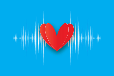 Heartbeat. Happy Valentines day. Red heart in paper cut style. Vector