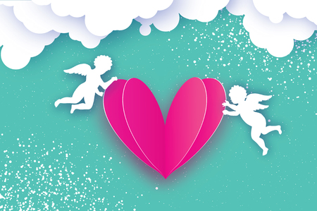 Flying Cupids - amur angels with Love Pink Heart in paper cut style. Origami Cherubs. Happy Valentines day. Romantic Holidays on blue background with cloud. All you need is Love. 14 February. Vector.