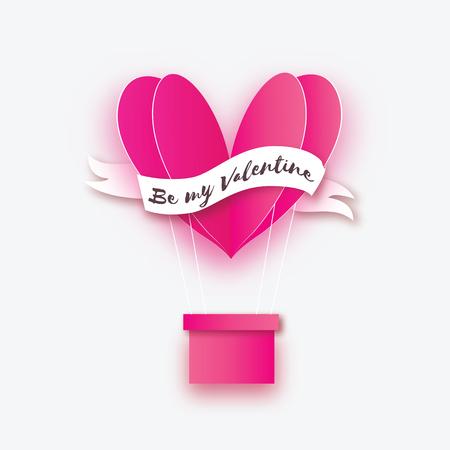 En forma de corazón Rosa globo aerostático volando. Amor en estilo de corte de papel. Origami San Valentín. Cinta de cinta para el texto Vacaciones románticas. 14 de febrero. Sé mi San Valentín Foto de archivo - 92111296