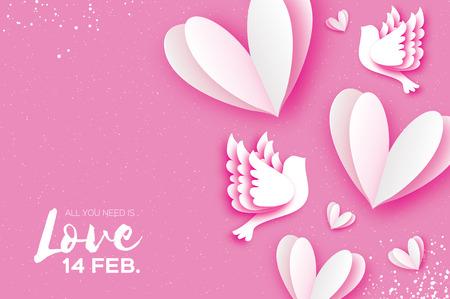 Wszystko czego Ci trzeba to miłość. Origami Happy Valentines day z życzeniami. Latające ptaki miłości w stylu cięcia papieru. Kilka kochających się gołębi. Romantyczne białe serce. Dwa białe gołębie. Ilustracje wektorowe