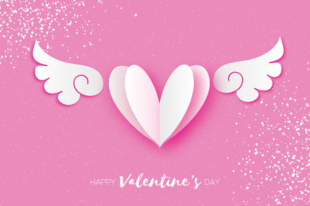 Cute Happy Valentines Day Greetings card. White Origami angel wings and romantic heart. Love. Winged heart in paper cut style. Pink background. 14 February. Stock Photo