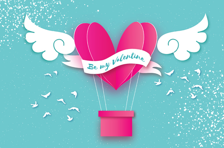 Heart shape Pink hot air balloon flying. Love in paper cut style. Origami heart and angel wings. Winged heart. Happy Valentine day. Ribbon tape for text. Birds. Romantic Holidays. 14 February.