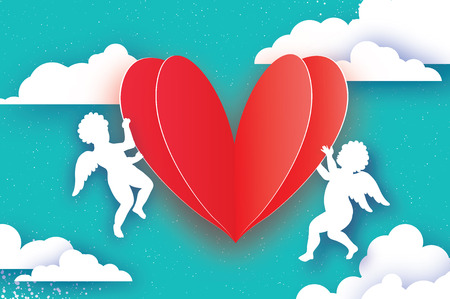 Flying Cupids - amur angels with Love RED Heart in paper cut style. Origami Cherubs. Happy Valentines day. Romantic Holidays on blue background with cloud. All you need is Love. 14 February.