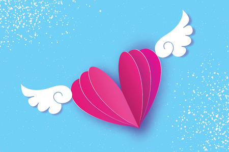 Happy Valentines Day Greetings card. Origami angel wings and romantic pink heart. Love. Winged heart in paper cut style. Blue sky background.