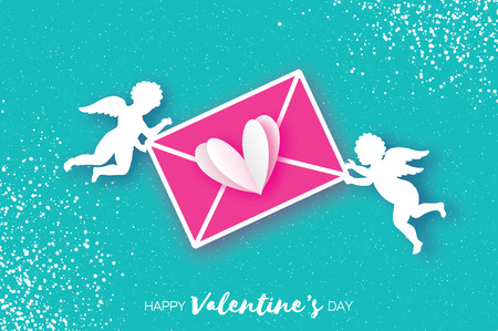 Valentines Day Greeting Card with upids - flying angels. Love mail, heart and envelope in paper cut style. Origami Cherubs. Romantic Holidays on blue background.14 February. Illustration