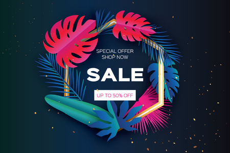 Tropical palm leaves, plants. Colorful Trendy Sale Template banner. Exotic Paper cut art. Hawaiian. Text. Hexagon frame. Origami Monstera jungle floral background. Special offer. Discount.